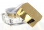 Mobile Preview: 15 ml Quadrat Acryl Tiegel mit Abdeckscheibe THOR Chrome gold